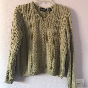 Vintage 80's grayish olive cotton knitted sweater